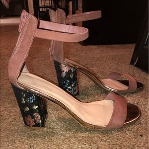 Rose gold, Mauve, & Floral Single Sole Block Heels